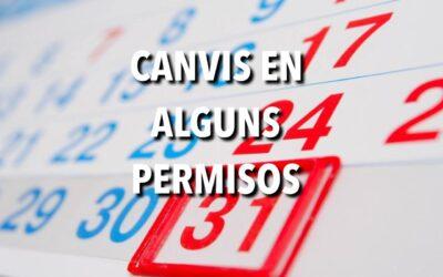 CANVIS EN ALGUNS PERMISOS